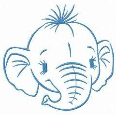 Head of elephant calf embroidery design