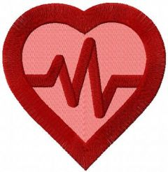 Heart cardio symbol embroidery design