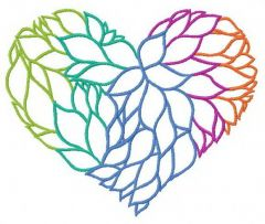 Heart from leaves 2 embroidery design
