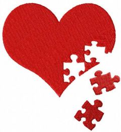 Heart jigsaw puzzle embroidery design