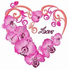 Heart with orchids embroidery design