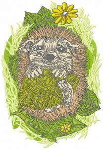 Hedgehog resting embroidery design