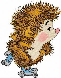 Hedgehog roller skating embroidery design