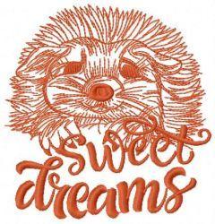 Hedgehog sweet dreams embroidery design 2