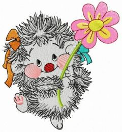 Hedgehog with chamomile embroidery design