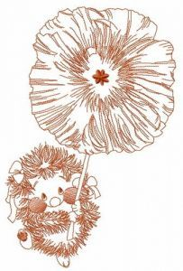 Hedgehog with poppy embroidery design 2