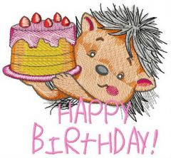 Hedgehog's birthday 2 embroidery design