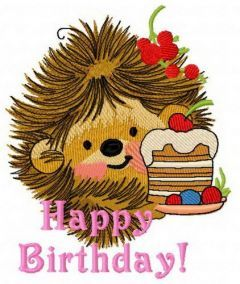 Hedgehog's birthday 5 embroidery design