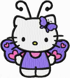 Hello Kitty Butterfly embroidery design