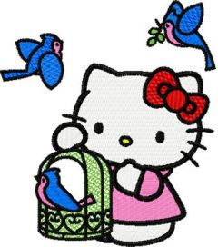 Hello Kitty with Birds embroidery design