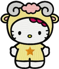 Hello Kitty Aries embroidery design