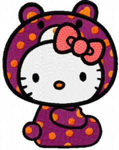 Hello Kitty Bear Costume embroidery design