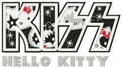 Hello Kitty KISS logo embroidery design