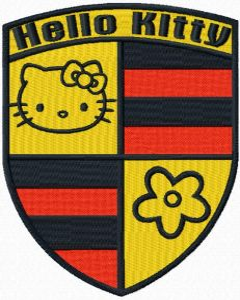 Hello Kitty Porsche embroidery design