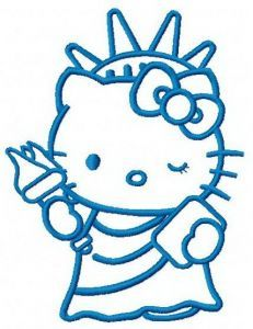 Hello Kitty Statue of Liberty 2 embroidery design