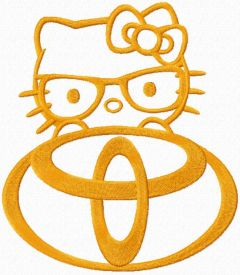 Hello Kitty Toyota logo embroidery design