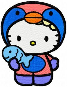Hello Kitty Winter Fishing embroidery design