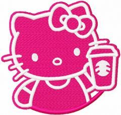 Hello kitty with coffee cup embroidery design