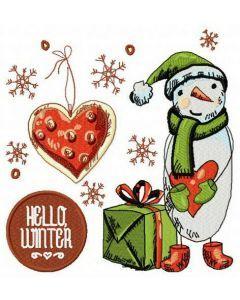 Hello winter embroidery design 2