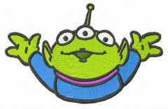 Hi Little Green Man embroidery design