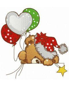 Hiding teddy bear embroidery design