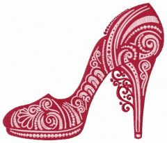 High heel shoe 3 embroidery design