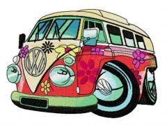 Hippie camper embroidery design