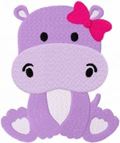 Hippo girl free embroidery design