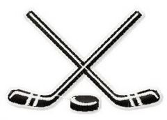 Hockey sticks and puck embroidery design