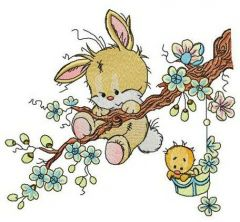 Hold on, bunny! embroidery design