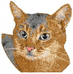 Brown home cat embroidery design
