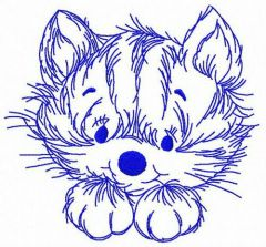 Home cat embroidery design
