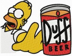 Homer Simpson like beer embroidery design