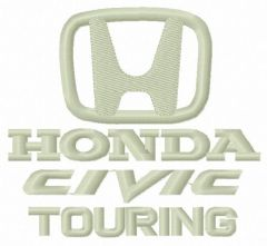 Honda Civic Touring logo embroidery design