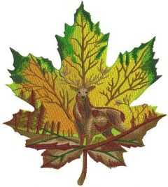 Horned deer on maple leaf embroidery design