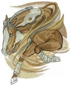 Horse running embroidery design