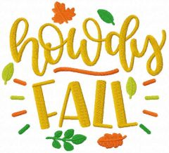 Howdy fall embroidery design