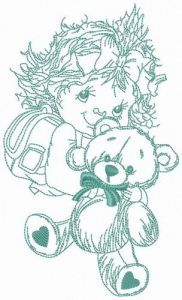 Hug for teddy bear embroidery design
