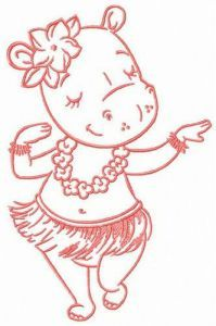 Hula dance embroidery design