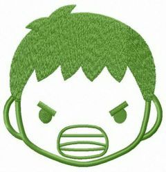 Hulk face embroidery design