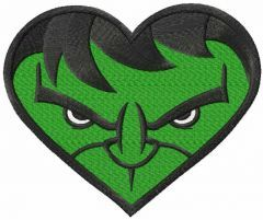 Hulk heart embroidery design