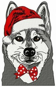 Husky before Xmas embroidery design