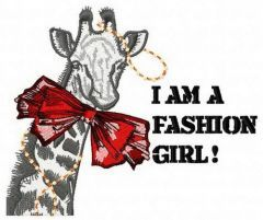 I am a fashion girl embroidery design