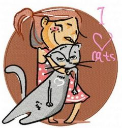 I love cats machine embroidery design 2