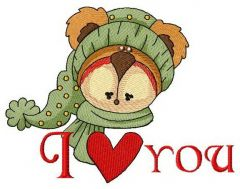 I love you bear embroidery design