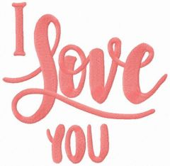 I love you 2 embroidery design
