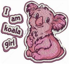 I'm koala girl embroidery design