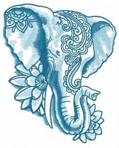 Indian elephant with lotus 2 embroidery design