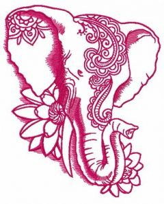 Indian elephant with lotus embroidery design 3