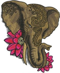 Indian elephant with lotus embroidery design